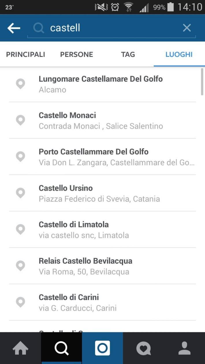 Places Search su Instagram